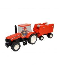 Traktor + Ballenpresse, Bausatz (126 Teile)
